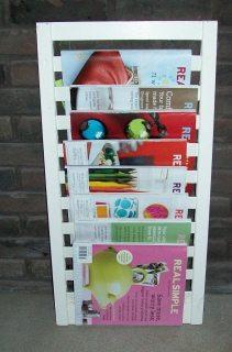 white magazine holder made from a shutter