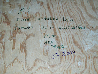 leave a note on original floor when you cover with laminate flooring