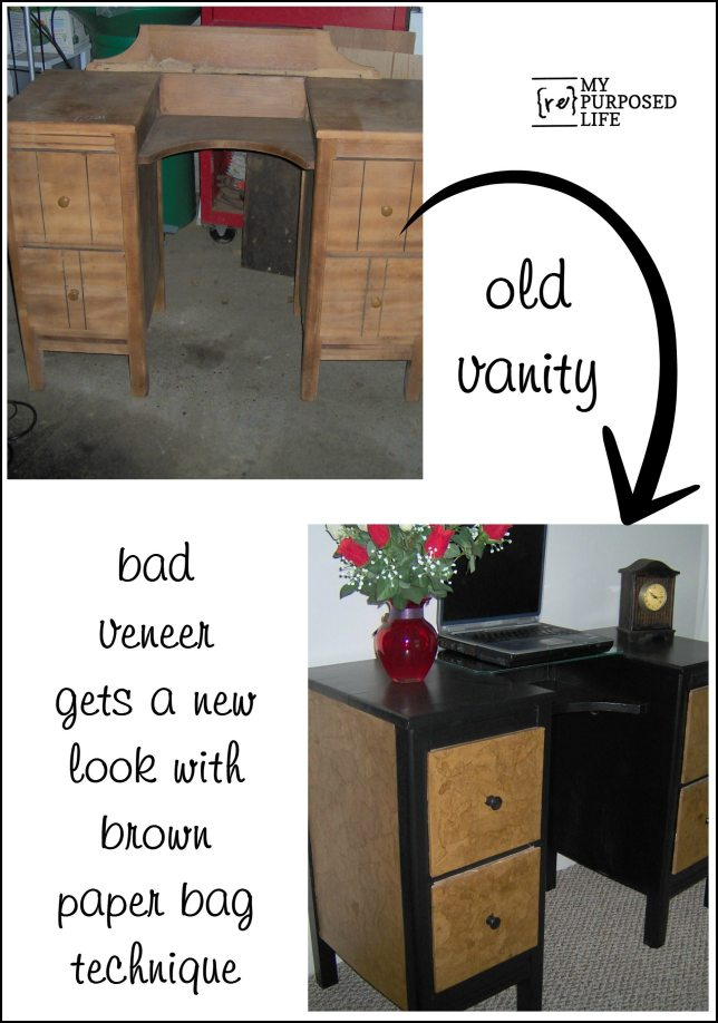 brown paper bag decoupage antique vanity