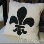 Fleur de lis stencil pillow