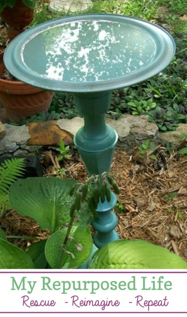 Easy DIY birdbath made from a repurposed candlestick