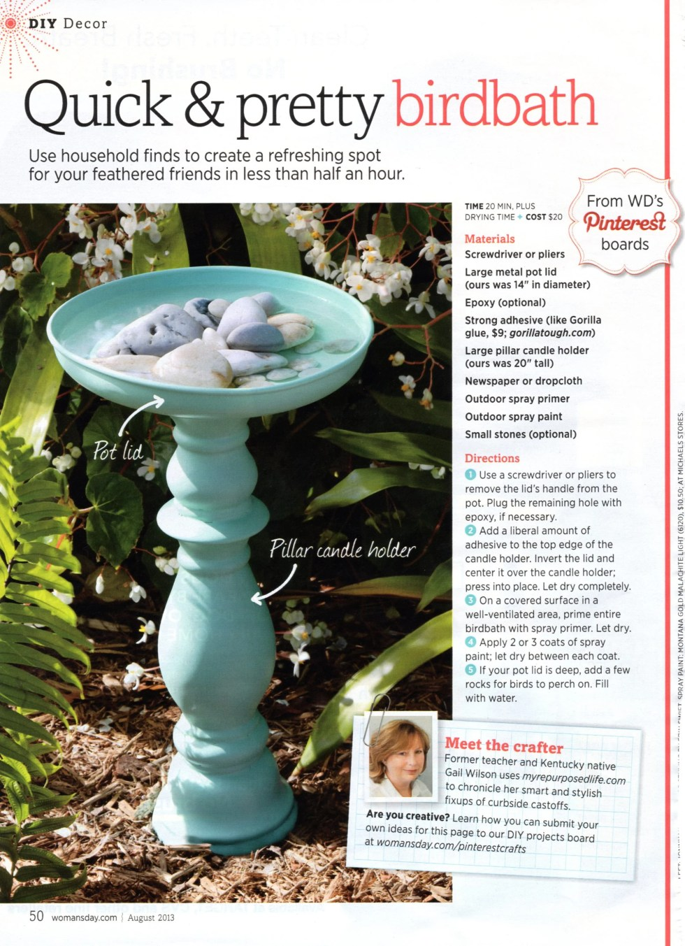 DIY birdbath featured in Woman's Day Magazine! This is so easy to make into a birdbath or even a succulent planter. Easy Project! #MyRepurposedLife #easy #project #trending #birdbath #succulents #spraypaint via @repurposedlife
