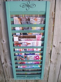 repurposed shutter magazine rack MyRepurposedlife.com
