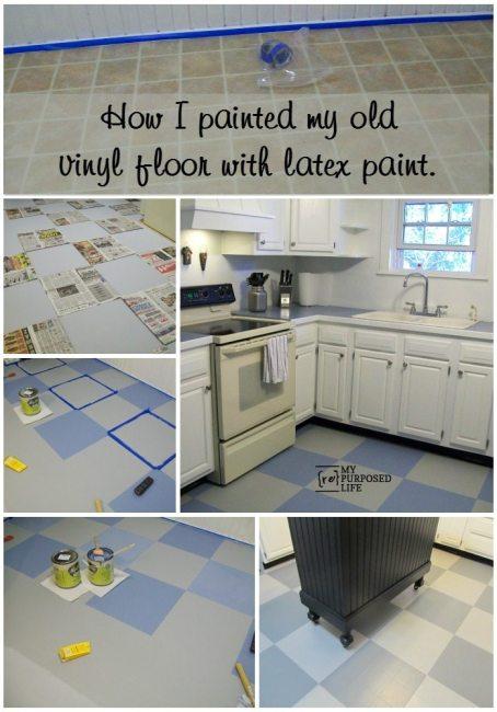How I Painted My Vinyl Floor My Repurposed Life