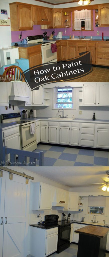 My Repurposed Life-How to Paint Oak Cabinets
