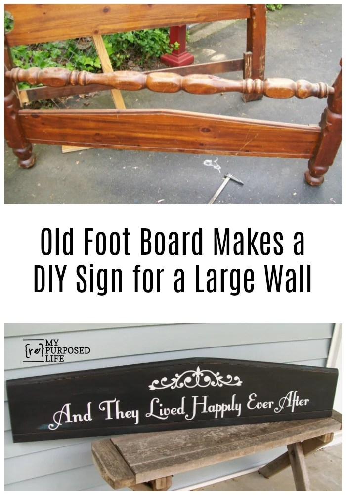 "Use an unwanted or damaged bed or headboard to make a ""they lived happily every after"" sign. Easy DIY way to update the decor over your bed. #MyRepurposeLife #repurposed #bed #footboard #diy #sign #happilyeverafter via @repurposedlife"