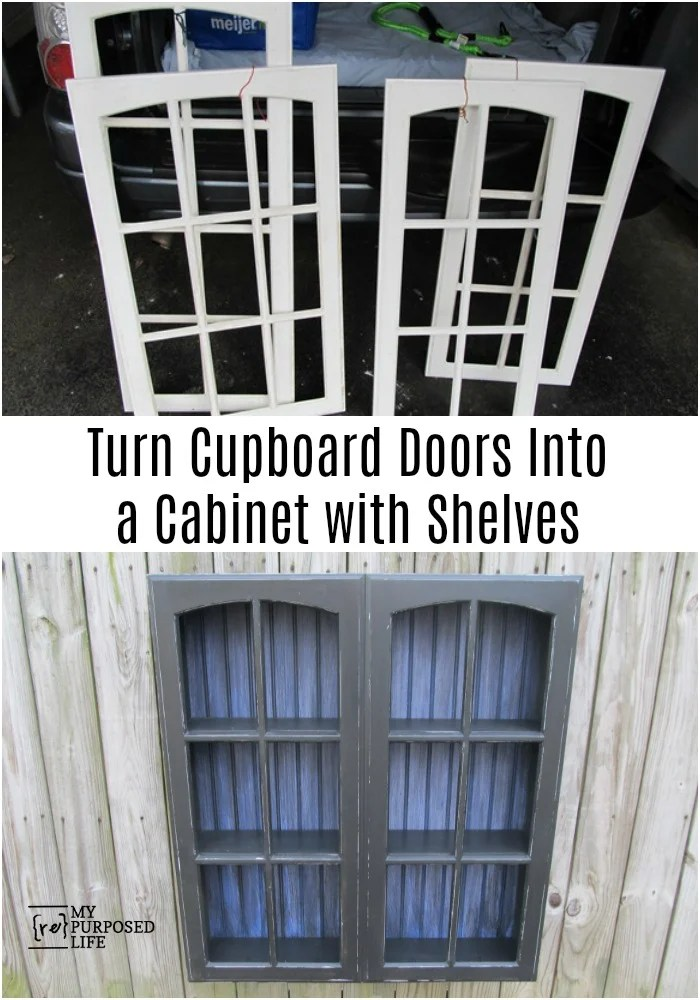 Repurposed cupboard doors turned into a unique cabinet that can be hung on the wall or set on the floor. Step by step directions with lots of tips. Think outside the box to make your next great project! #MyRepurposedLife #Repurposed #cupboard #doors #shelf via @repurposedlife