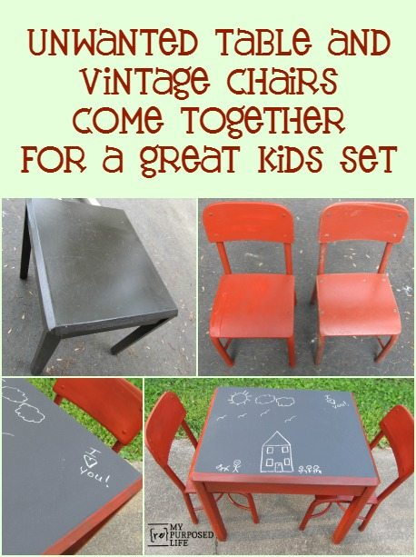 A side table and some thrifted chairs are the perfect match for a kids chalkboard table. MyRepurposedLife.com
