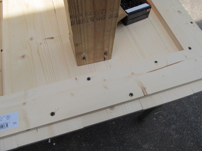 pilot holes wood glue and screws secure table base