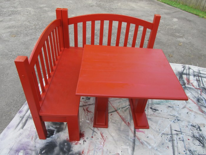 red kids corner table and corner bench