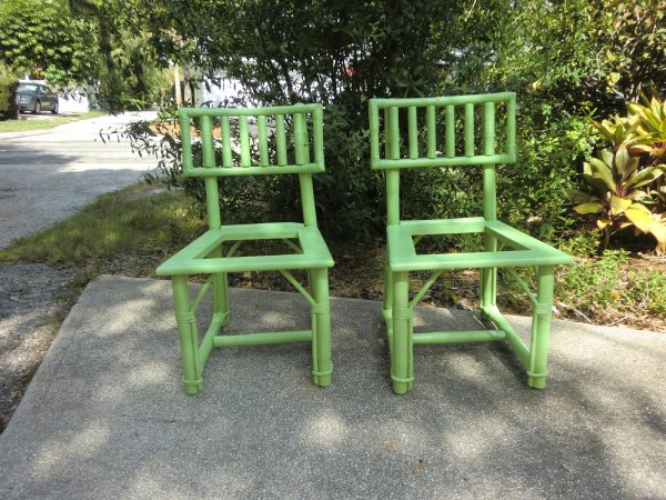 green bamboo chairs