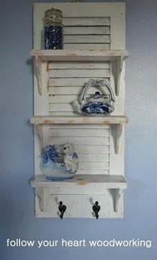 This fun little shutter shelf project is a perfect weekend project. The color goes with anything, and the hooks are a great addition to any busy home. #MyRepurposedLife #followyourheartwoodworking #repurposed #diy #project #shutter #shelf #upcycle via @repurposedlife