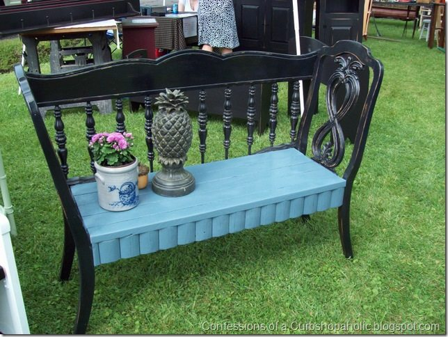 black and blue heaboard chair bench