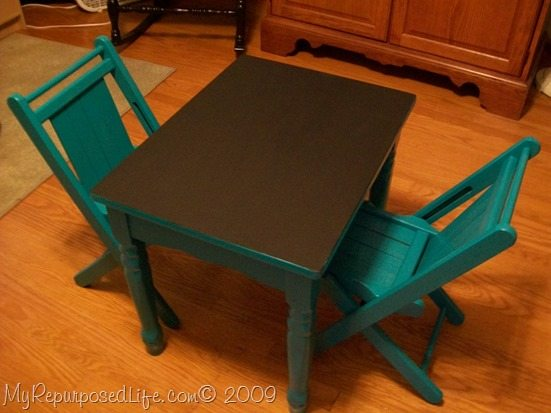 use a side table and small chairs to make a kid's chalkboard table set