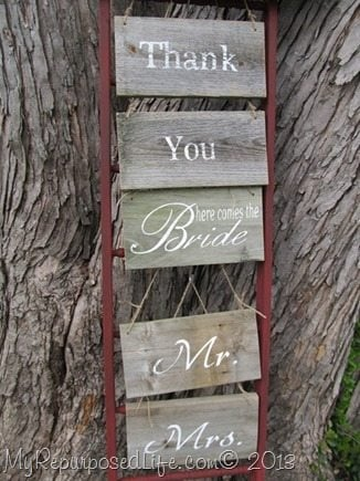My Repurposed Life-DIY Faux Ladder Craft Display for Rustic Signs