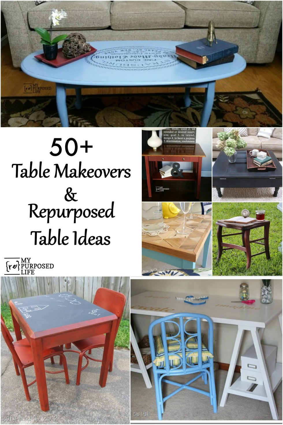 This roundup of 50+ repurposed table ideas will give you lots of inspiration to transform that table you have just waiting for a makeover. #myRepurposedLife #Repurposed #table #project #ideas via @repurposedlife