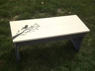 sweet hand painted bird (bench)