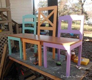 three chair bench