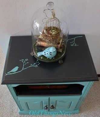 turquoise table bird stencil