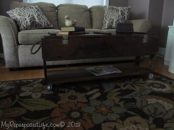 ammo box coffee table on wheels