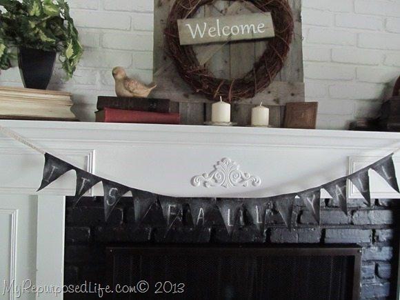 mantel chalkboard bunting