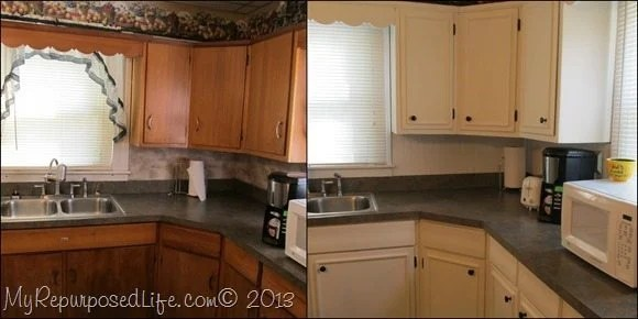 Kitchen Cabinets Updated With Paint Amp Trim My Repurposed