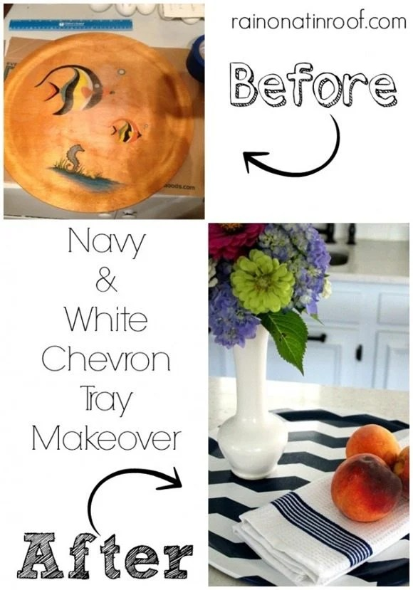 how to paint a chevron pattern on a tray