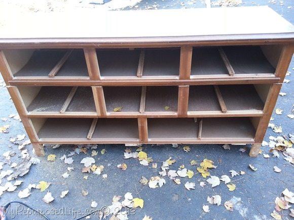 dresser cut in half to make a bench