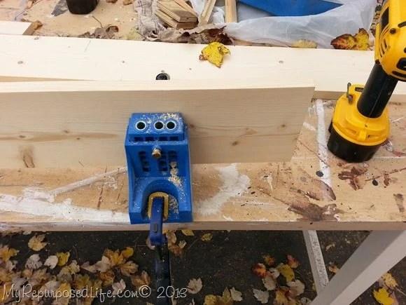 using a kreg jig to make a bench seat