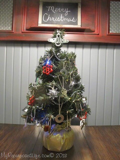 hardware Christmas tabletop tree
