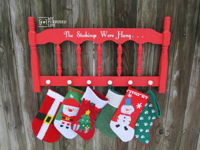 repurposed headboard stocking holder MyRepurposedLife