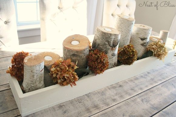 Birch Logs as Candle Holders Centerpiece