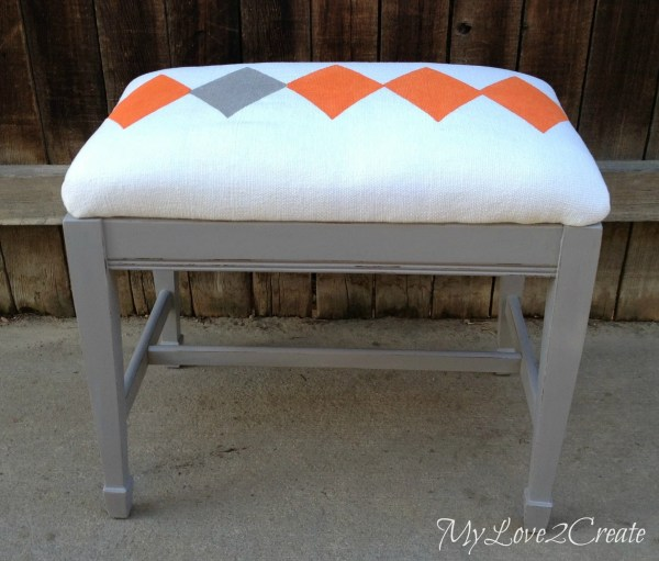 MyLove2Create, repurposed curtain covered bench
