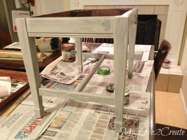 painting bench, one coat