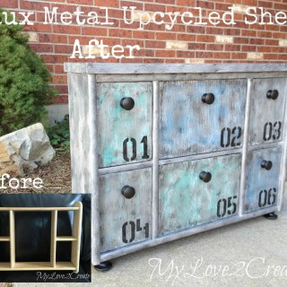 Faux Metal Upcycled Shelf, before and after