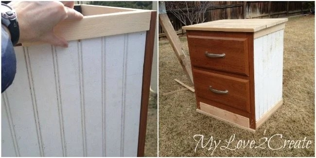 Adding bead board and trim to night stand