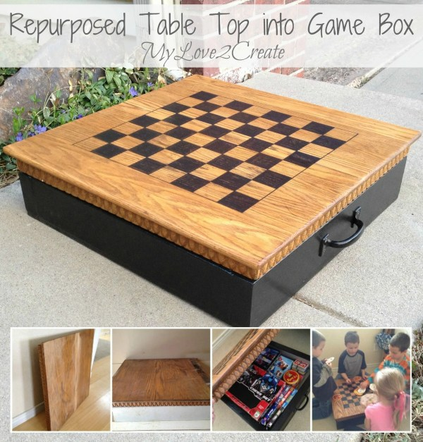 Repurposed table top into game box