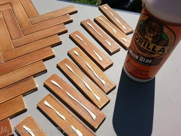 wood glue for slats on chevron table top