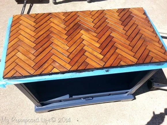 chevron table top made with slats