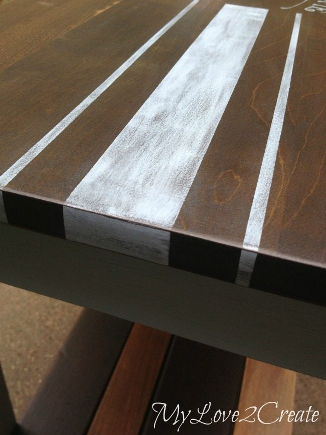 Close up of grain sack stripes