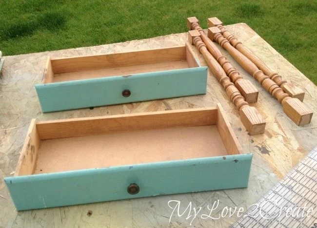 Old drawers and spindles