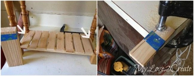 Cutting end slats to fit bottom of base shelf
