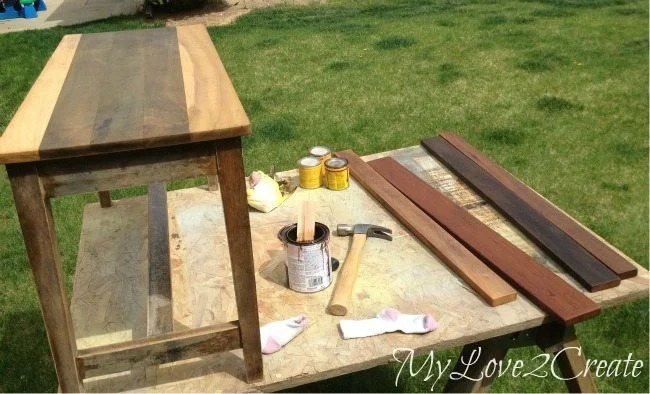 staining piano bench top and bottom shelf boards