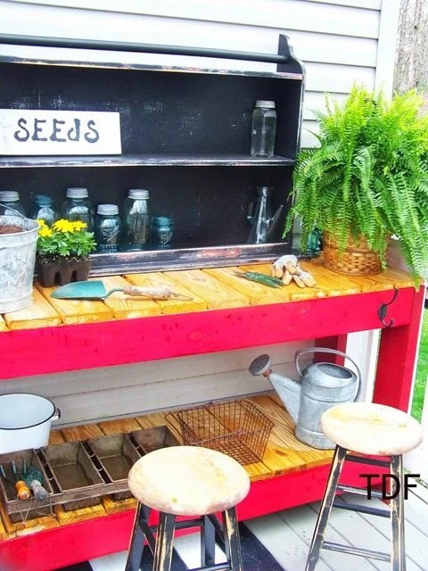 red-potting-bench