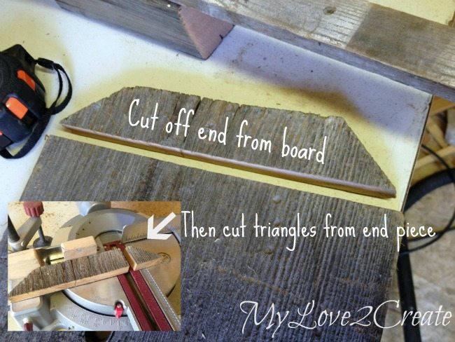 cutting off end of fence board to make shelf supports