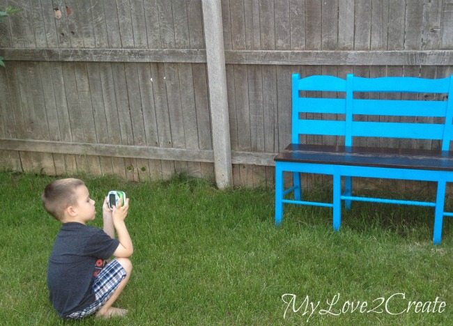 helping mom take pictures ofOld chairs made into New bench