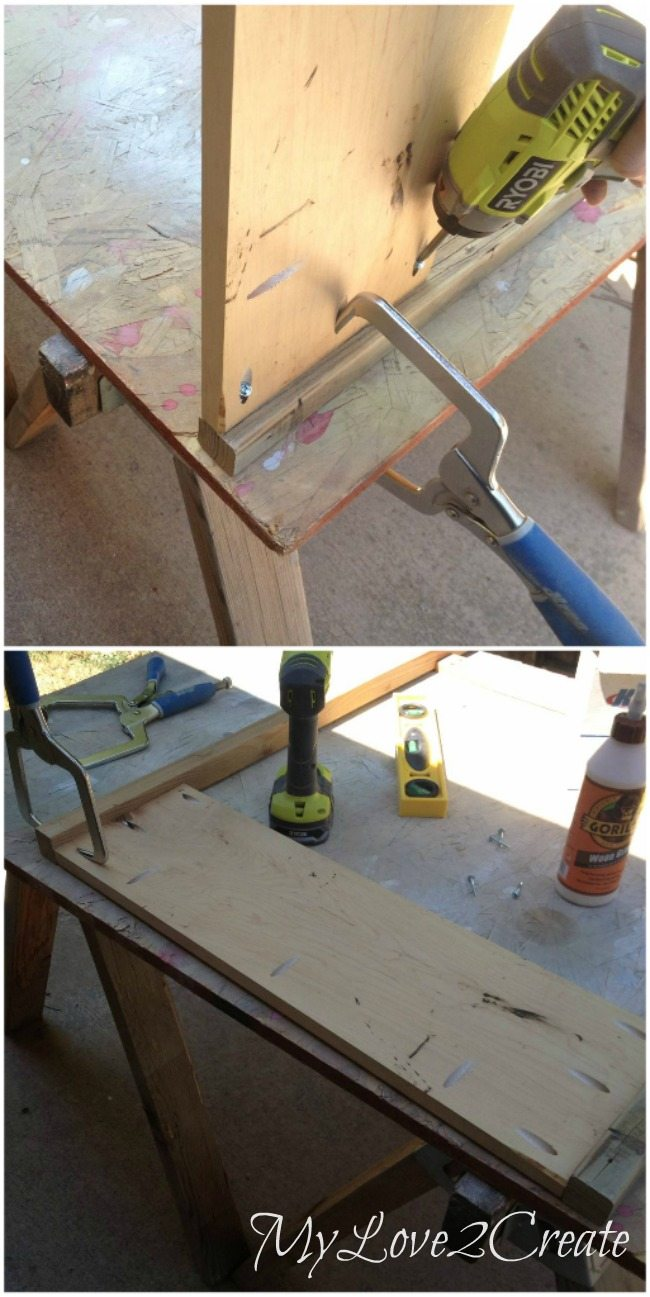 Using pocket holes to attach back piece to table legs