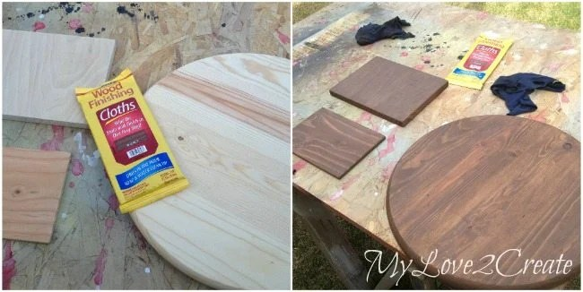 staining boards with minwax stain cloths