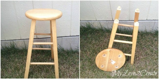 stool turned side table before