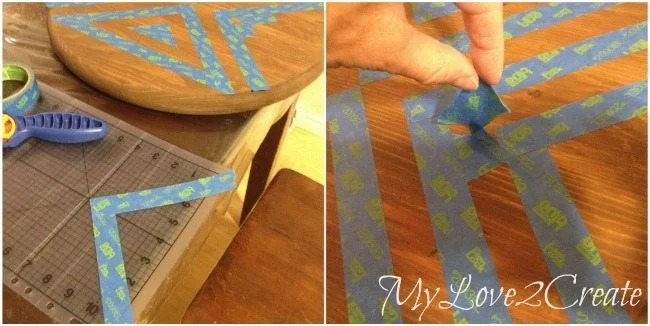making tape triangles to make two toned stained designed